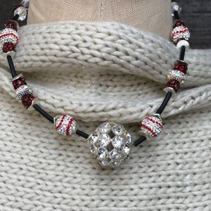Jewelry - Red and White Baseball Fan Crystal Necklace